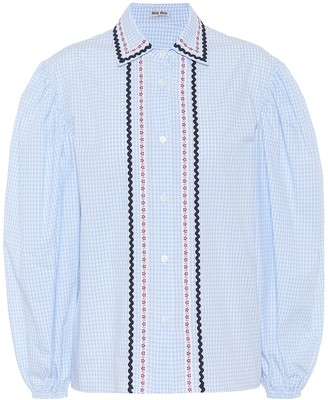 Miu Miu Embroidered checked cotton blouse