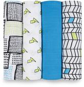 Aden Anais Blue & White Muslin Whiz Kid Swaddling Blanket - Set of Four