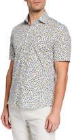 Culturata Men's Abstract Floral-Print Cotton Button-Down Shirt