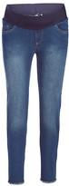 Times 2 Women's Denim Pants and Jeans Medium - Medium Wash Frayed-Hem Maternity Skinny Jeans - Plus Too
