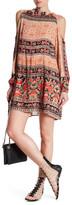Angie Mock Neck Cold Shoulder Print Dress