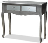 Baxton Studio Theia Brushed Silver Wood and Mirrored Glass 2-Drawer Console Table