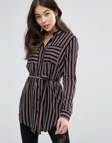 Brave Soul Striped Shirt With Tie Waist