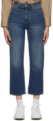 Ganni Blue Washed High-Waisted Cropped Jeans