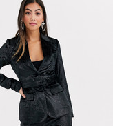 Fashion Union Petite tailored blazer with belted waist in black tinsel velvet