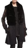 St. John Rabbit-Fur Knit Vest, Caviar
