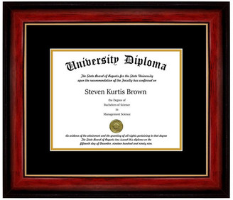 "Perfect Cases, Inc. Single Diploma Frame w/ Double Matting, Mahogany w/ Gold Lip, 11""x14"","