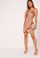 Missguided Silky Strappy Wrap Cami Dress Nude
