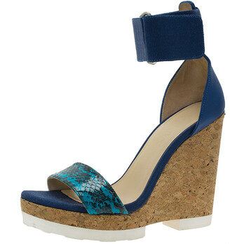 Jimmy Choo Blue Watersnake Leather Neston Ankle Strap Cork Wedge Platform Sandals Size 37.5