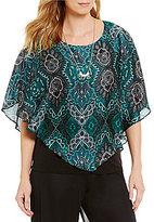 I.N. Studio Scoop Neck Short Sleeve Emerald Paisley Print Top