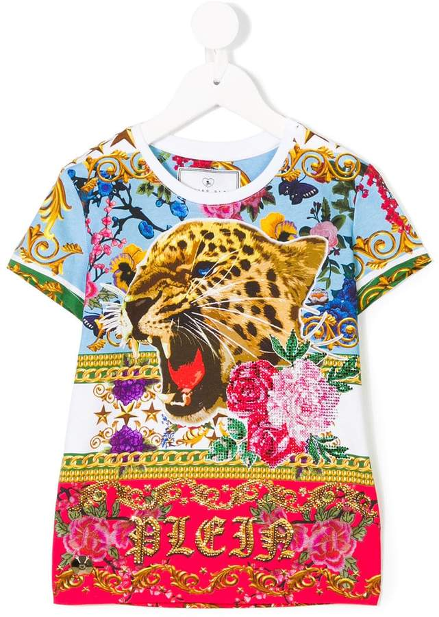 Philipp Plein Junior leopard floral T-shirt
