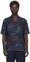 Valentino Navy and Black Camo Shirt