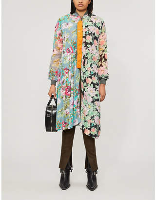 Junya Watanabe Floral-print pleated shell and woven jacket
