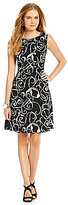 Anne Klein Printed Crepe Fit and Flare Dress