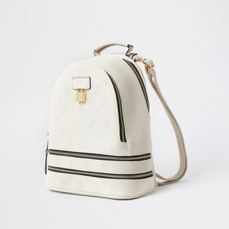 River Island Womens Cream RI embossed monogram backpack