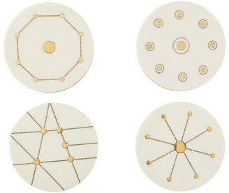 Indigo White Resin & Brass Deco Lines Round Coasters Set of 4 with Belly Band