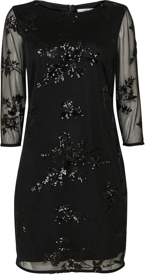 Wallis PETITE Black Embellished Mesh Shift Dress