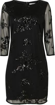 Wallis PETITE Black Embellished Mesh Shift Dress