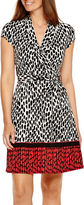 Liz Claiborne Cap Sleeve Wrap Dress With Border Print