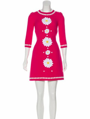 Dolce & Gabbana Wool Mini Dress w/ Tags Magenta