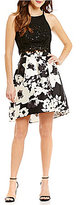 I.N. San Francisco High Neck Lace Top Floral Print Skirt Two-Piece High-Low Dress