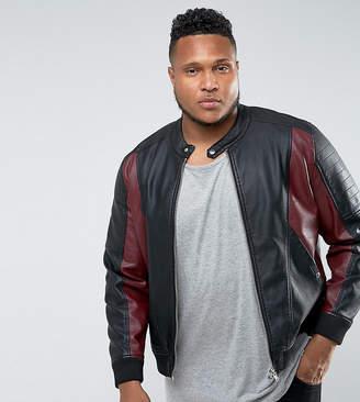 Barneys New York Barneys Originals PLUS Faux Leather Jacket-Black