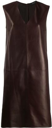 Joseph Sleeveless Leather Shift Dress