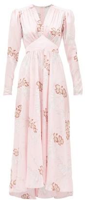 Paco Rabanne Hawaii-print Crystal-button Satin Dress - Pink
