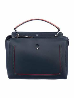 Fendi Python-Trimmed Dotcom Medium Shoulder Bag Blue