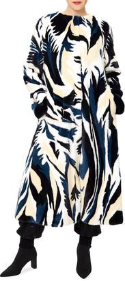 Oscar de la Renta Mink Marble Intarsia Coat