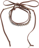 Love Heals Wraparound Beaded Leather Choker, Brown