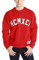 Southpole Men's Henley Neck Stadium Sweatshirt with Faux Leather Applique