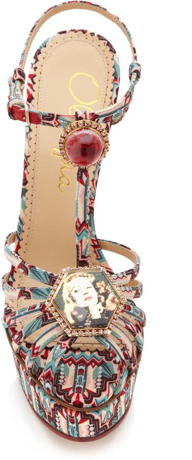 Charlotte Olympia Leading Lady Printed Satin Platform Sandals