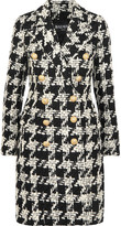Balmain Houndstooth Wool-blend Tweed Coat - Black