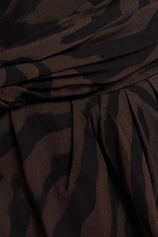 Thumbnail for your product : BA&SH Saphir Wrap-effect Tiger-print Georgette Dress