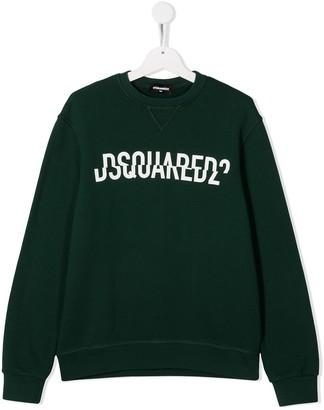 DSQUARED2 TEEN split logo-print sweatshirt