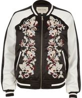 River Island Womens Black embroidered bomber jacket