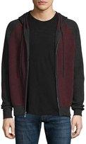 Neiman Marcus Cashmere-Cotton Colorblock Front-Zip Hoodie, Claret/Derby Gray