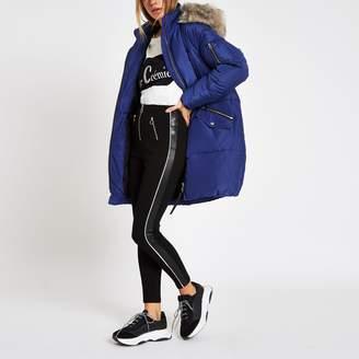 River Island Womens Blue faux fur trim longline puffer jacket