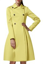 Azbro Women Double Breasted Turn Down Collar Slim Fit Trench Coat, XL