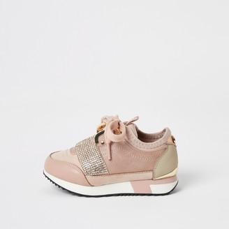 River Island Mini girls Pink elasticated diamante trainers