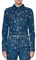 Valentino Laser Star-Print Cropped Jean Jacket, Light Blue Denim