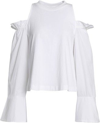 Mother of Pearl Cold-shoulder Cotton-jersey And Poplin Top
