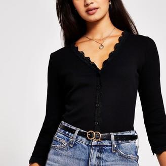 River Island Womens Black long sleeve lace trim button cardigan