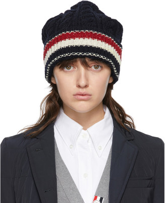 Thom Browne Navy Wool Aran RWB Stripe Beanie