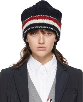 Thom Browne Online Exclusive Navy Wool Aran RWB Stripe Beanie