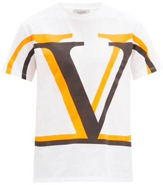 Valentino Logo-print Cotton-jersey T-shirt - Orange White