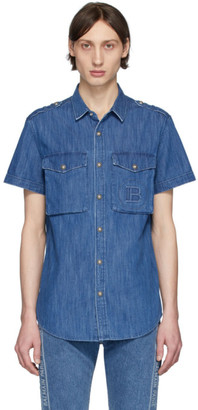 Balmain Blue Denim Embossed Logo Short Sleeve Shirt
