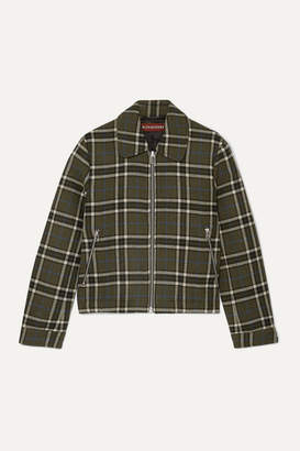 ALEXACHUNG Cropped Plaid Twill Jacket - Army green