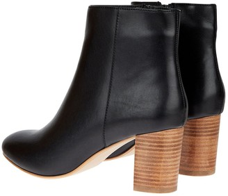 Monsoon Leather Stacked Heel Ankle Boots - Black